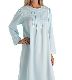 Miss Elaine Brushed Back Satin Long Sleeve Long Nightgown 546127