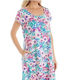 Miss Elaine Interlock Knit Spring Watercolor Floral Short Gown 808827