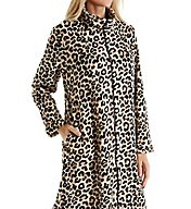 Miss Elaine Plush Fleece Leopard Zip Robe 831556