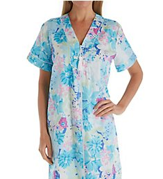Miss Elaine Printed Sateen Short Zip Robe 839738