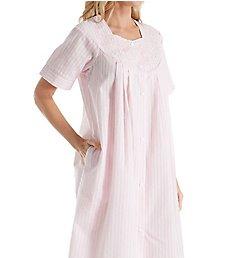 Miss Elaine Seersucker Short Sleeve Short Snap Front Coat 852606