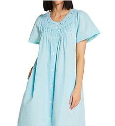 Miss Elaine Seersucker Short Snap Front Robe 854621