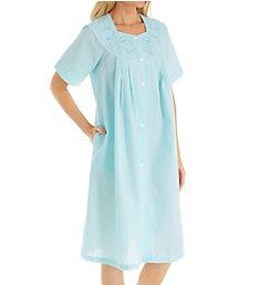 Miss Elaine Seersucker Short Button Front Robe 858637