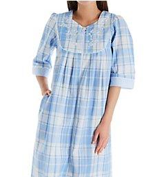 Miss Elaine Seersucker Long Plaid Zip Front Robe 864629