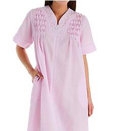 Miss Elaine Long Seersucker Zipper Front Short Sleeve Robe 864639