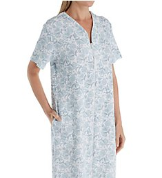 Miss Elaine Pique Knit Short Sleeve Long Zip Robe 869918
