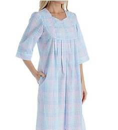 Miss Elaine Seersucker Long Zip Robe 879648