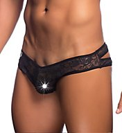 MOB Eroticwear Lace Crossed Back Sheer Bikini Brief MBL32