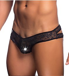 MOB Eroticwear Lace Crossed Back Sheer Bikini Brief MBL32