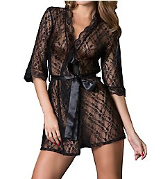 Oh La La Cheri Lace Robe with Satin Belt 1098