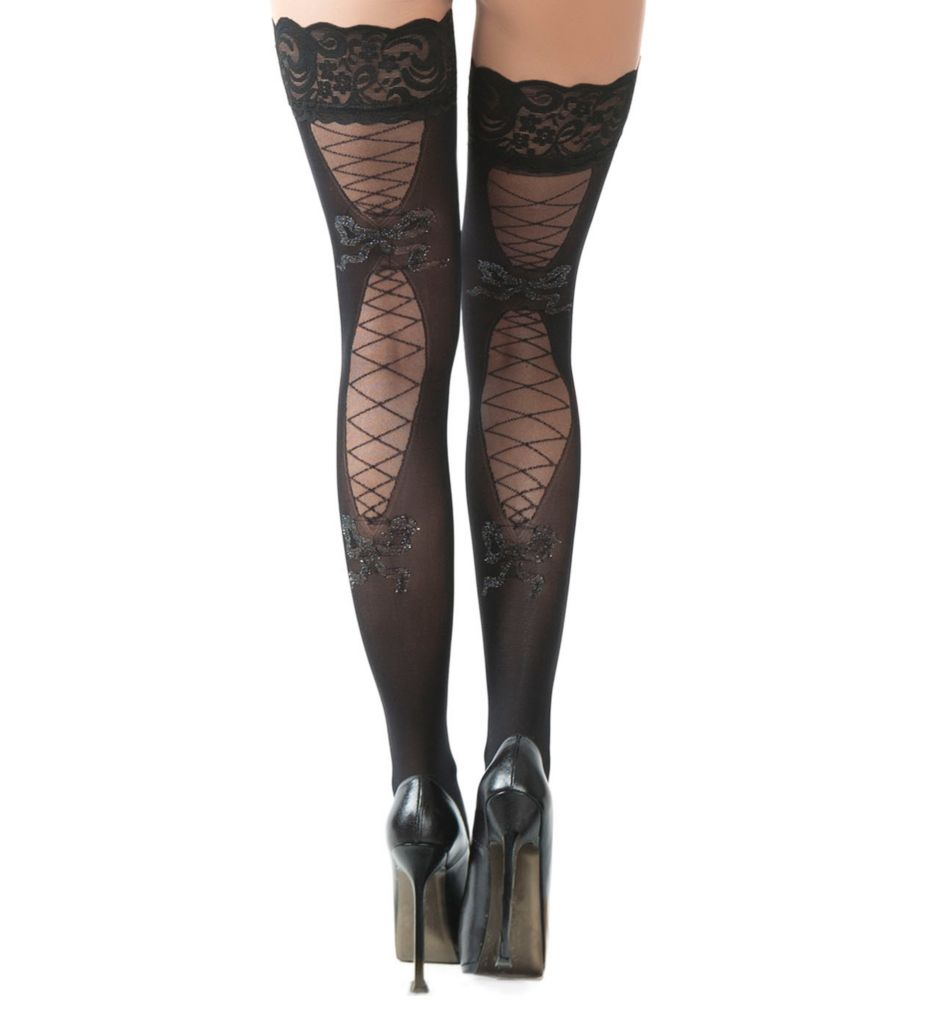 Oh La La Cheri Corset Patterned Thigh High 2108