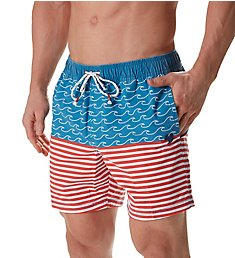 Party Pants Finner Beaver Nautical Print Swim Trunk PR171003