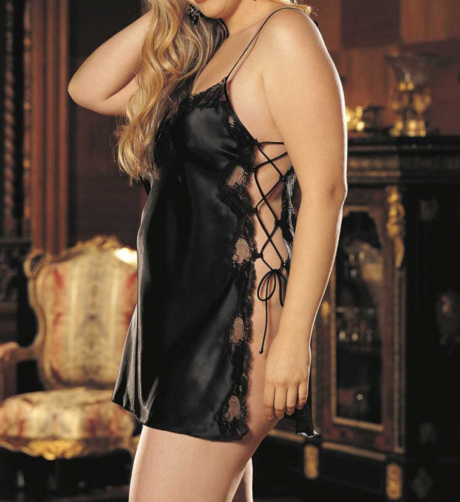 Shirley of Hollywood Plus Size Charmeuse Lace Up Chemise X20015