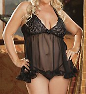 Shirley of Hollywood Plus Size Stretch Lace & Chiffon Halter Baby Doll X20477