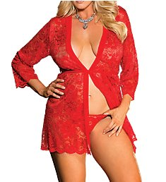 Shirley of Hollywood Plus Size Stretch Lace Robe With G-String X31106