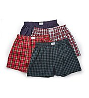 Tommy Hilfiger Holiday Plaid 100% Cotton Woven Boxers - 4 Pack 09T3186